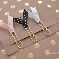 GOLD Polka Dots Ribbon Planner Paper Clips for Your Erin Condren Filofax Kikki K Planner Accessories