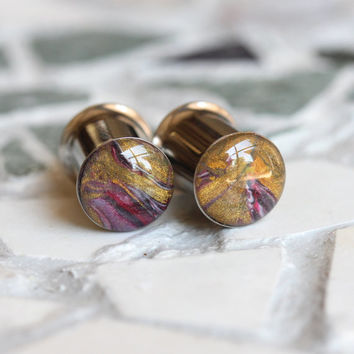 8mm Plugs, 0g Gold Gauges, Art Plugs, Clay Gauge, Double Flare, Stretched Ears - size 0g (8mm)