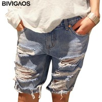 BIVIGAOS Summer Womens Loose Denim Shorts Beggar Hole Ripped Jeans Shorts Ladies Short Jeans For Women Shorts Fashion S-XXXL