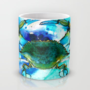 Blue Crab - Abstract Seafood Painting Mug by Sharon Cummings