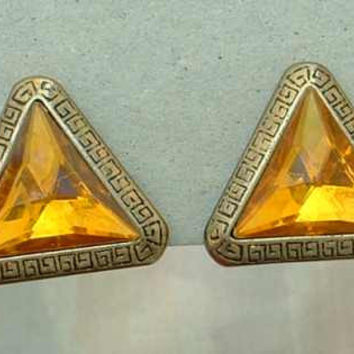 Unusual Clip On Earrings Art Deco Plastic Topaz Rivoli Greek Key Vintage Jewelry