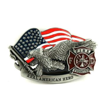Mens fashion belts accessories U.S firefighters men belt buckle with eagle American flag logo mens big buckle free shipping