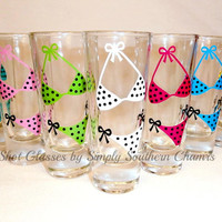 9 Personalized Bride and Bridesmaid Bikini Shot Glasses, Wedding Party and Bachelorette Glasses