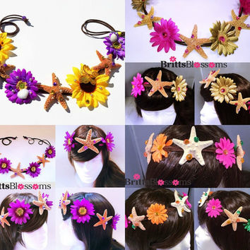 Mermaid Princess Flower Crown, Starfish Headband, Mermaid Headpiece, Mermaid Hair Accessories, Starfish Hair Accessories