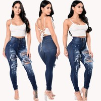 High Waist Blue Ripped Jeans