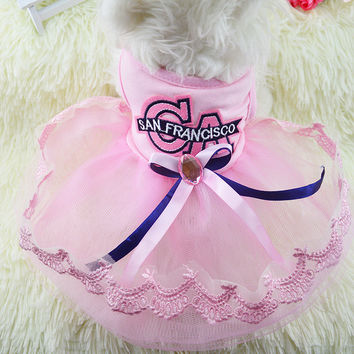 Summer Dogs Clothing Dress Pets Prom Dress [6258336582]