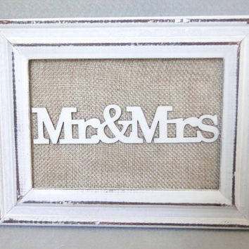 "Mr & Mrs Sign 10 Table Numbers Set Burlap and White Destressed Wood Frame Picture Frame Cottage Shabby Chic Rustic Vintage 3.5"" X 5"""