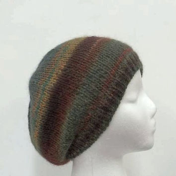Knit beanie hat, handmade, multi-color womens hats, mens hats  4937