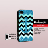Anchor With Gliter Cevron  - Print On Hard Cover - iPhone 4/4S Case and iPhone 5 Case - Samsung Galaxy S3 i9300 / S4 i9500