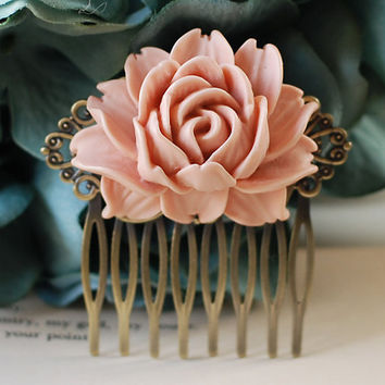 Large Dusty Pink Rose Flower Hair Comb. Vintage Inspired Antique Brass Art Nouveau Filigree Hair Comb. Wedding Comb. Maid of Honor