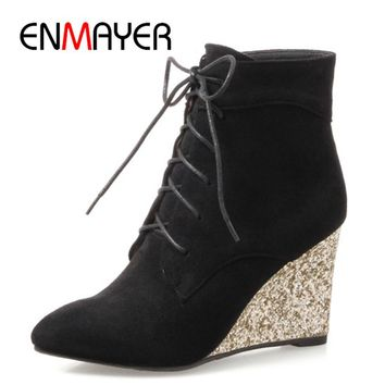 ENMAYER High Heels Pointed Toe Western Boots Shoes Woman Lace-up Cross-tied Ankle Boots for Women Wedges Plus Size 34-42 Womens