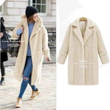 AOTEMAN Winter Faux Fur Coat Women Elegant Long Sleeve Ladies Streetwear Jacket Vintage Warm Fake Fur Coat Fourrure Femme