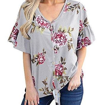 Gobought Womens Floral Ruffle Sleeves Button Down Shirts Tie Front V Neck Tops