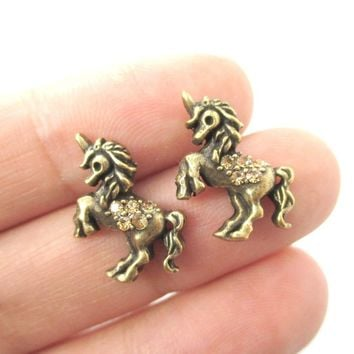 Classic Unicorn Horse Shaped Stud Earrings in Brass with Rhinestones | Animal Jewelry