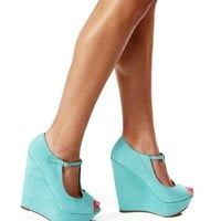Mint Peep Toe Wedges