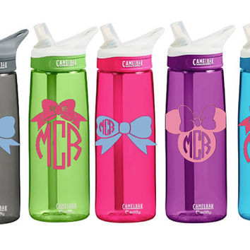 CamelBak 0.75 Eddy Insulated 20 ounce Personalized Monogram Bow or Minnie Mickey Mouse Monogram Bow Monogram Water Bottle Sports bottles