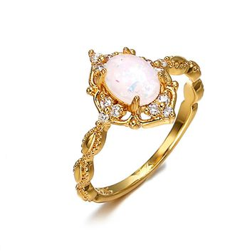 STYLEDOME Lady's Ring Engagement Opal Ring