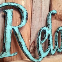 RELAX rustic shabby chic finish home decor wedding wall hanging gift shower last name photo prop custom present cottage design