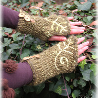 Forest woodland magical enchanted green fairy cuffs hand knitted with wooden buttons