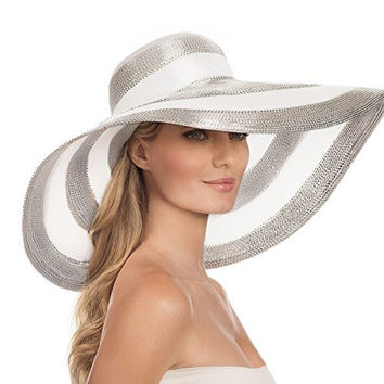 Eric Javits Women's Luxury Headwear Stripe Dip Brim Hat Silver/White