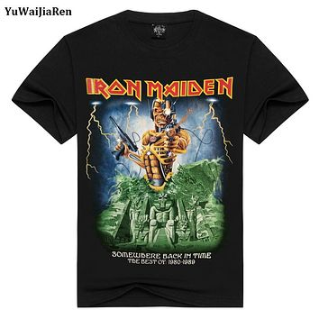 YuWaiJiaRen Mens T Shirts Fashion Summer Iron Maiden Skull Print Heavy Metal Rock Hip Hop Punk Swag Hipster Tee Shirts Anime