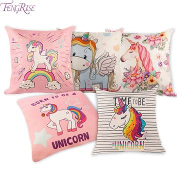 FENGRISE 45x45cm Unicorn Party Decoration Pillow Covers Unicorns Pillow Case Cotton Unicorn Birthday Cushion Cover Home Decor