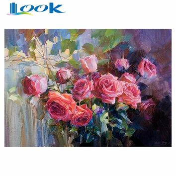 No Frame Painting DIY Painting By Numbers Drawing Kits Home Decor Paint On Canvas Unique For Home Wall Art Picture flowers