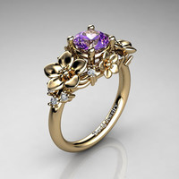 Nature Inspired 14K Yellow Gold 1.0 Ct Amethyst Diamond Leaf Vine Unique Floral Engagement Ring R1026-14KYGDAM