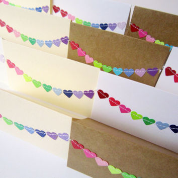 2 x 3.5 Mini Thank You Cards with Envelope / Lunch Box Notes / Blank Note Cards / Bunting Flag Cards/ Assorted Rainbow Hearts / Set of 12