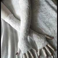 Vivianne Extra Long Arm Warmers White Lace w/ by ZenAndCoffee