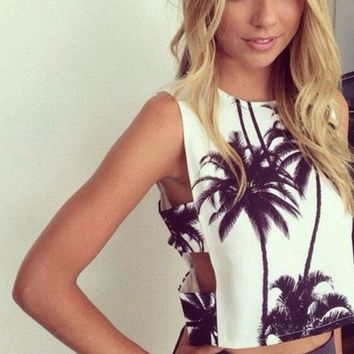 ESBONS Fashion Side Hollow Coconut Trees Print Sleeveless Vest Crop Tops