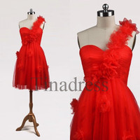 Custom One Shoulder Red Short Prom Dresses Bridesmaid Dresses 2014 Party Dress Formal Evening Gowns Cocktail Dresses Homecoming Dresses