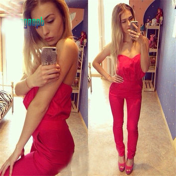 Red Strapless Jumpsuit with Pocket