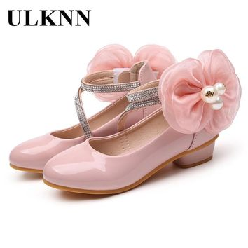 ULKNN Children Princess Shoes For Girls Leather Shoes Kids Shoes For Party Dance Low Heel Flowers School zapatos nina 2018