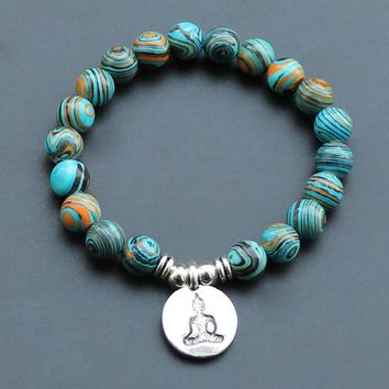 Women Men Meditation Buddha Charm Blue Zebra Stone Beads Elastic Beaded Strand Bracelets Throat Chakra Spiritual Retro Bracelet