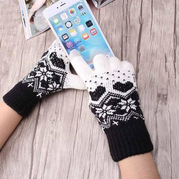 2017 Pretty Stylish snowflake Winter Fingers Hand Arm crochet Knitting Wool Mitten Knitted Glove  winter gloves for girl
