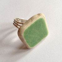 Ceramic ring, green sea glass coated ceramic tile ring, silver plated, Seaham, adjustable ring
