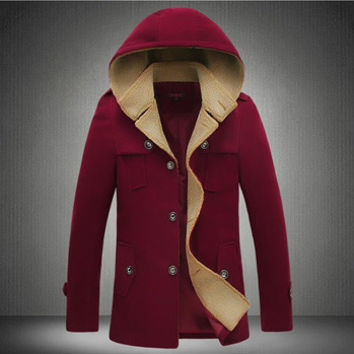 Men Padded Coat Jacket Parkas Trench Coat Men Casual Slim Fit Thickening Large Size Wool Padded Coat SM6