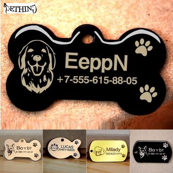 Free engraved write name phone number pet dog cat ID tag collar pet tag dog pet name pendent neckalce tag engraved military tag