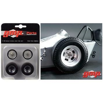 """Vintage Dragster Wheels and Tires Set of 4 from """"The Chizler V"""" Vintage Dragster 1/18 Model by GMP"""