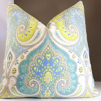 Latika Decorative Pillow Paisley pattern -Available with fabric both sides or solid back - Select your pillow size