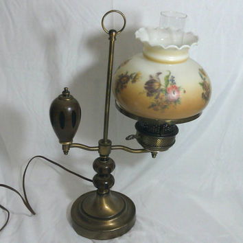 Vintage Hurricane Swing Arm Floral Table Lamp/Brass and Wood Hurricane Table Lamp