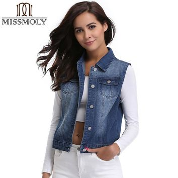 Miss Moly Denim Jeans Women Waistcoat Basic Jackets Casual Sleeveless Spring Fall Vest Coat Female Femme Costume Vintage Top TMR