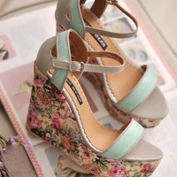 heel platform Picture - More Detailed Picture about Free Shipping 2013 Summer Sweet Vintage Floral Print Open Toe Platform Light Green Wedge Heels Picture in Robes from monica women's shoes.