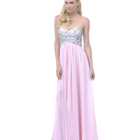 2013 Homecoming Dresses - Baby Pink Sequined Strapless Long Dress - Unique Vintage - Prom dresses, retro dresses, retro swimsuits.