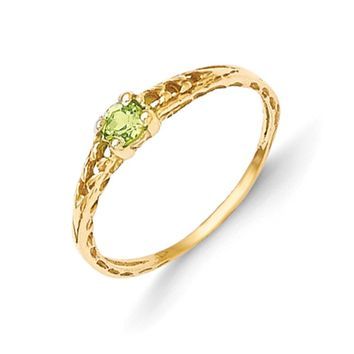 Size 3 14kt Yellow Gold 3mm Genuine Peridot Birthstone Girls Ring