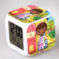 Doc Dolls McStuffins Clinic Figure Led Digital Coloring Touch Lights Clock Brinquedos Girls PVC Toy Christmas Gift