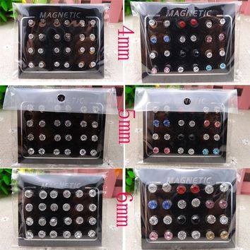 12 Pairs/set 4/5/6mm Circle Crystal Rhinestone Magnet Stud Earring Magnetic Earrings Magic Unisex Lovers Stud Earrings for Women
