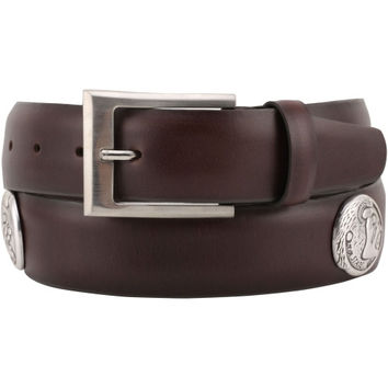 Florida State Seminoles :FSU: Saddle Leather Tapered Concho Belt - Brown