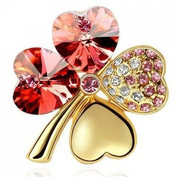 Delicate Faux Crystal Rhinestone Four Leaf Clover Shape Brooch For Women - Red